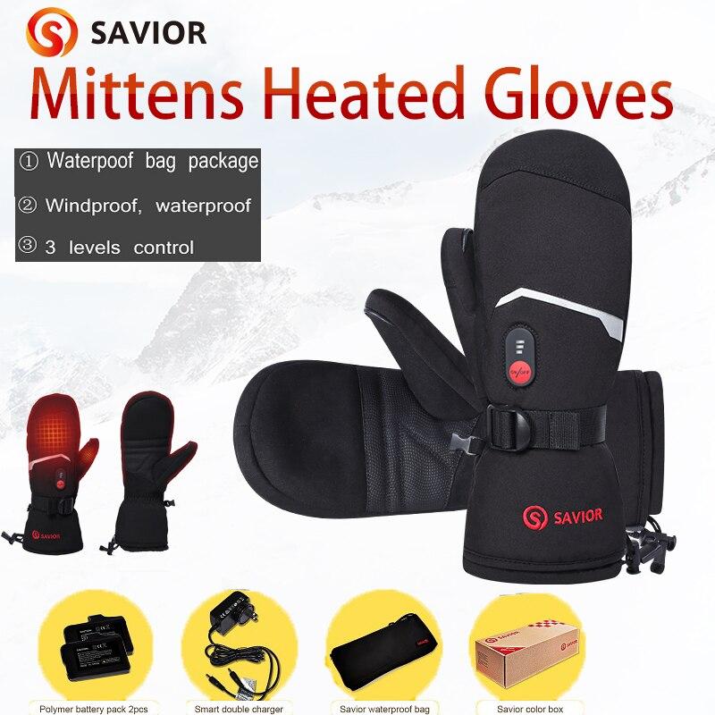 Savior Full finger Skiing Heated Gloves Mittens Touch Screen Waterproof Windproof Battery Heating Mitten Gloves Mens Womens S66E